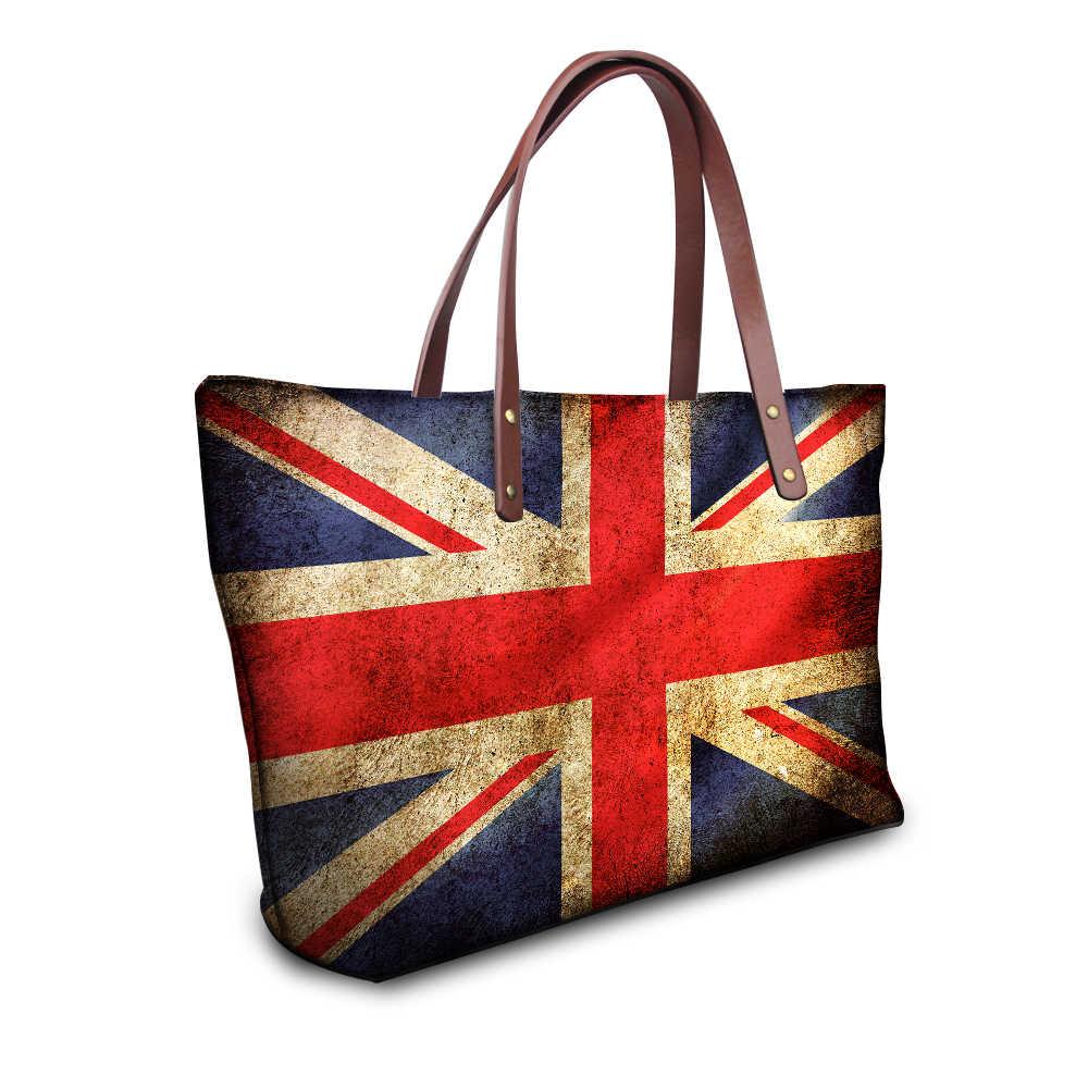 Whereisart moda reino unido eua canadá bandeiras de impressão feminina topo-alça bolsa grande senhoras luxo único totes bolsa feminina