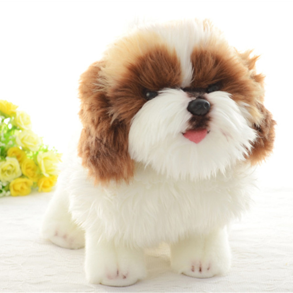 Fancytrader Realistic Anime Shih Tzu Dog Plush Toys Stuffed Mini Animals Dog Doll 20cm 7inch Great Gift for Kids