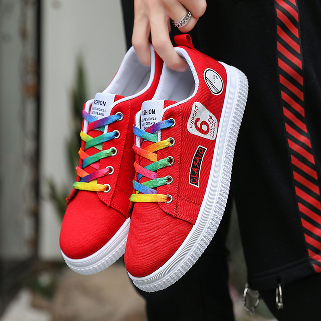 QGK 2019 Fashion Women Vulcanized Shoes Ladies Lace-up Casual Shoes Breathable Canvas Lover Walking Sneakers Graffiti Flat