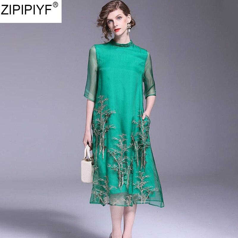 2018 Summer New Fashion Elegant Embroidery Flower Perspective A-Line Dress O-neck Short Sleeve Knee-Length Dress for Female C623