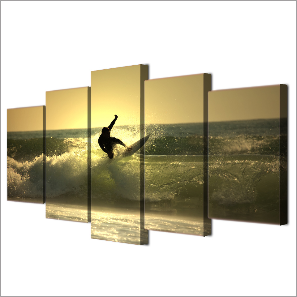 HD 5 Pieces Canvas Paintings Printed Sunset Surf Waves Wall Art ...