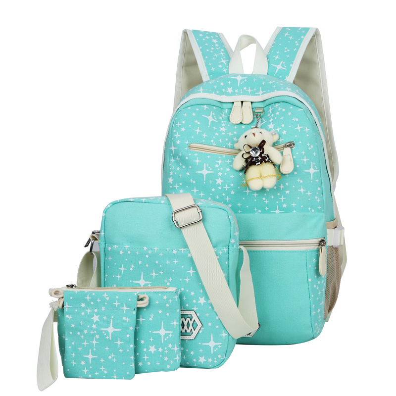 Canvas Women 4Pcs/set Computer Backpacks College Schoolbag Fashion Backpack for Teenager Girl Rucksack Moclila Lady Shoulder Bag 2017 fashion women waterproof oxford backpack famous designers brand shoulder bag leisure backpack for teenager girl and college
