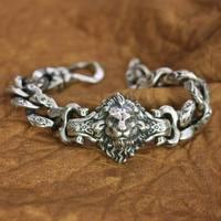 LINSION Details 925 Стерлинговое серебро цепь в виде льва мужской Байкерский браслет панк-рок TA146