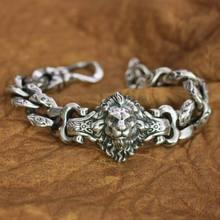 LINSION Details 925 Sterling Silver Lion Chain Mens Biker Rock Punk Bracelet TA146