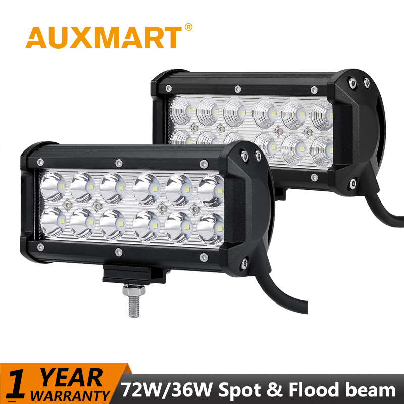 Auxmart LED Light Bar 7 inch 72W 36W Spot Flood Beam 12V 24V Offroad Driving fog LED Work Light Bar 4x4 4WD Truck SUV ATV Lamp car truck tractor spot flood lamp 36w led work light super bright waterproof 12v 24v 2520lm suv atv universal offroad led