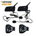 2 UNIDS Inalámbrica Bluetooth Intercom Headset Intercomunicador Full-duplex de Árbitro de Fútbol con FM para 4 Usuarios Vnetphone V4C 1200 M