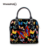 WHOSEPET Black Messenger Bags Pu Shoulder Bags Butterfly New Women S Tote Casual Crossbody Purse For