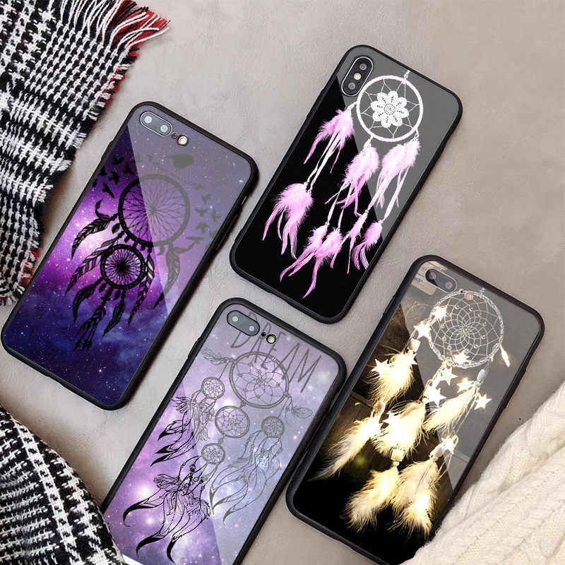 Pena dream catcher Padrão a Caixa Do Telefone de Vidro Temperado Para o iphone X XR XS XS Max 8 7 6 Plus Para caso iPhone 5 5C SE 5S 6 S