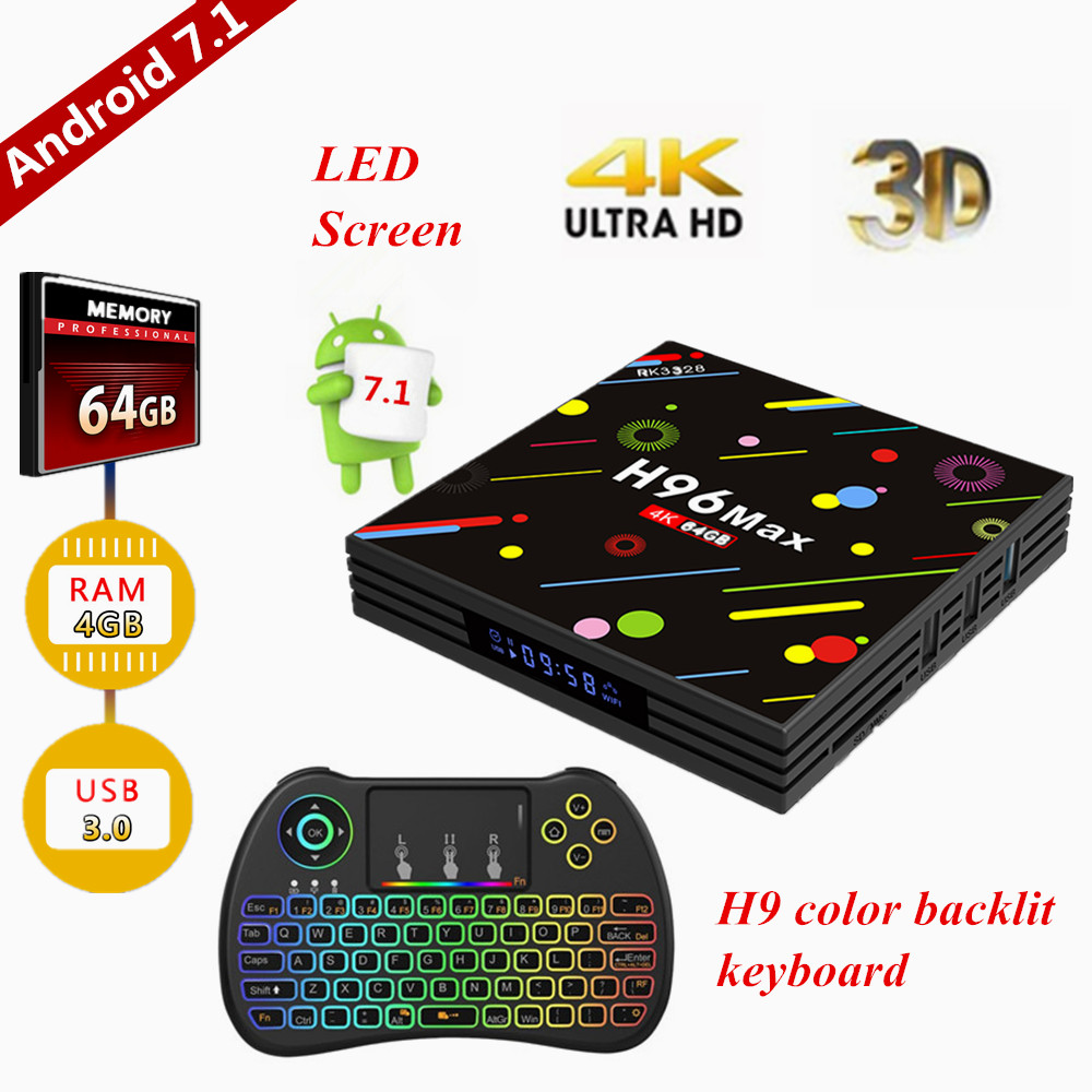 где купить TV box, H96 Max Android 7.1 TV Box 4GB64GB/RK3328 Quad Core / H.265 / 3D 4K Ultra HD Smart TV Box with color backlit keyboard дешево