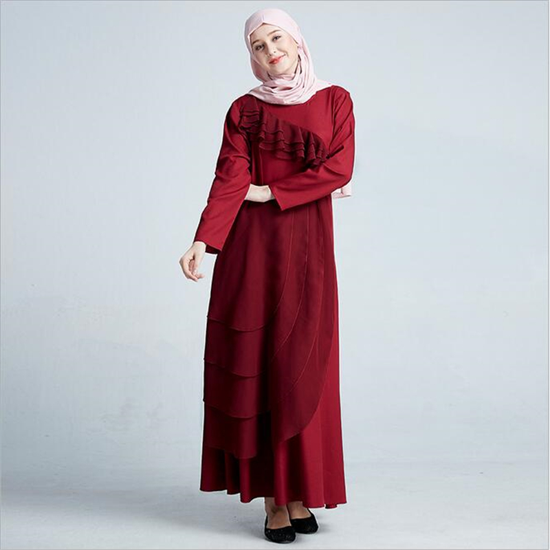 b21226671f Fashion Ladies Malay indonesia muslim evening dress 2019 Women long sleeve maxi  abaya dress with flounce Patch designs-in Islamic Clothing from Novelty ...