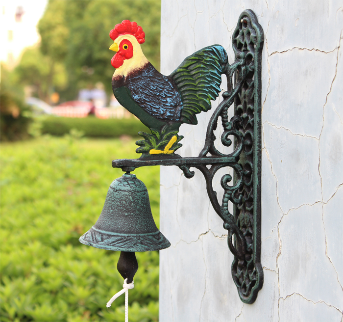Antique Style Cast Iron Hand Painted Rooster Motif Bell