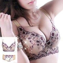 Slimgril conjunto de sutiã sexy feminino, conjunto de sutiã bordado ajustável com renda tamanho grande a para mulheres roupa íntima do copo b c d