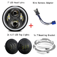 7 Inch Round LED Headlight with 7 inch Bracket Black 4.5 Inch LED Passing Lamps for Harley Davidson Motorcycles FLSTN Softail