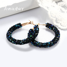 Personality Shiny Crystal Earring Fashion All-match Geometric Big Round Earrings Party Jewelry Gifts Hoop Rhinestone Oorbellen(China)