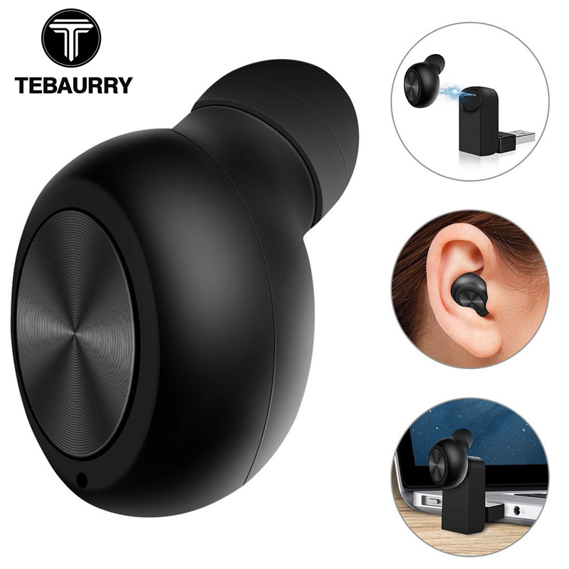 TEBAURRY New Invisible Wireless Bluetooth Earphone Mini Bluetooth Headset Wireless In Ear Earpiece with Microphone for phone hoco mini bluetooth earphone with microphone wireless headset for phone invisible earpiece music in ear hook handsfree for car
