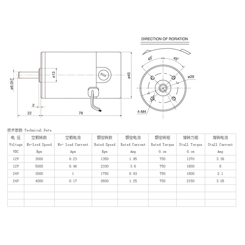 Zhengke Zytd 45srz R 45mm 12v24v Dc Motor Round Shaft