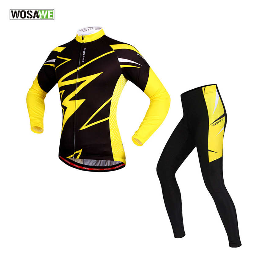WOSAWE Men's Cycling Jersey Suits Long Sleeve & Tights Pants 4D Gel Padded Breathable Reflective Cycling Clothing Sports Suits wosawe men long sleeve cycling jersey 4d gel padded tights