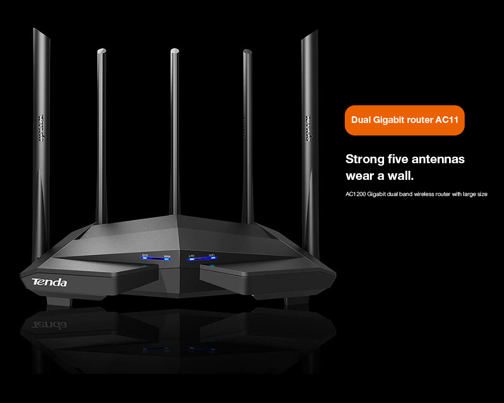 Tenda AC11 Gigabit Dual-Band AC1200 Wireless Wifi Router WIFI Repeater 5*6dBi High Gain Antennas Wider Coverage Easy setup
