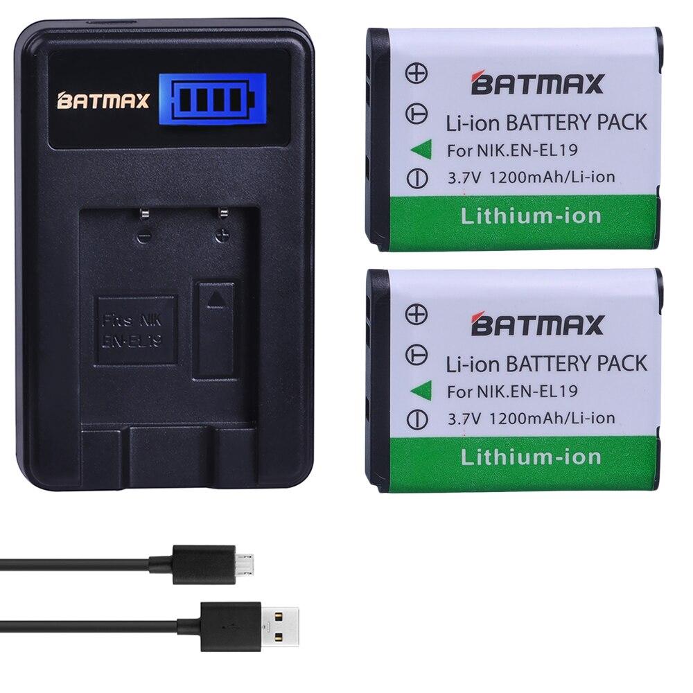 2 piezas 1200 mAh EN-EL19 EN EL19 ENEL19 batería + LCD cargador USB para Nikon S100 S2500 S2600 S3100 S6400 s4100 S4150 S3300 S4300