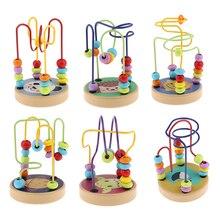 Красочные Мультяшные деревянные бусины лабиринт американские горки активность куб Развивающие Abacus бусины круг игрушки для детей малышей Дети