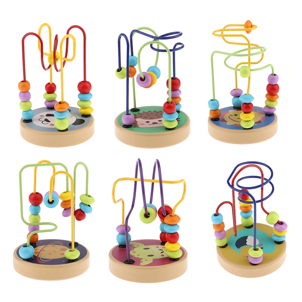 Colorful Cartoon Wooden Bead Maze Roller Coaster Activity Cube Educational Abacus Beads Circle Toys for Children Toddlers Kids(China)