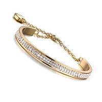 High Quality Rhinestone Crystal Bangle Bracelet For Women 316L Stainless Steel Luxurious Jewelry Pulseira