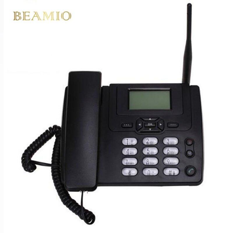 GSM SIM carte bureau téléphone sans fil maison téléphone fixe montage mural avec Radio FM fixe radiotéléphone filaire téléphone maison noir