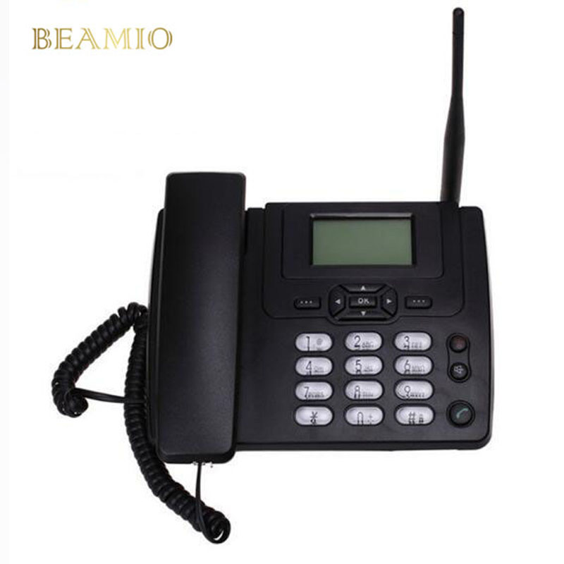 GSM tarjeta SIM escritorio teléfono inalámbrico casa teléfono fijo montaje de pared con Radio FM fijo radiotelemóvil con cable hogar negro