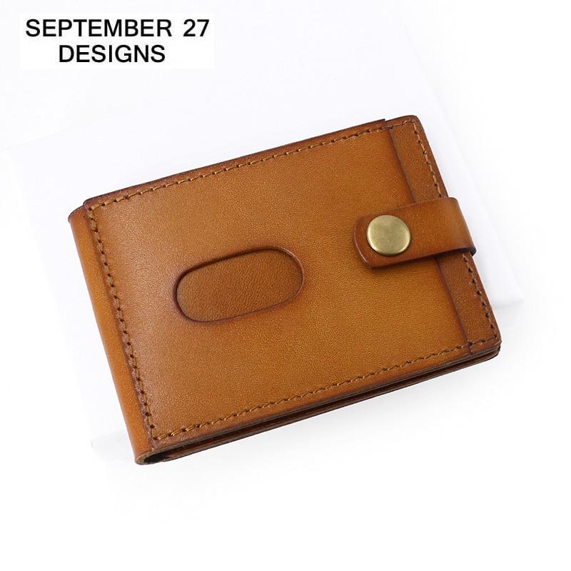 Credit Card Wallets Genuine Leather Retro Mini Men ID Wallet Vintage Male Small Purses Card Holder Slim Women Bus Bank Card Case