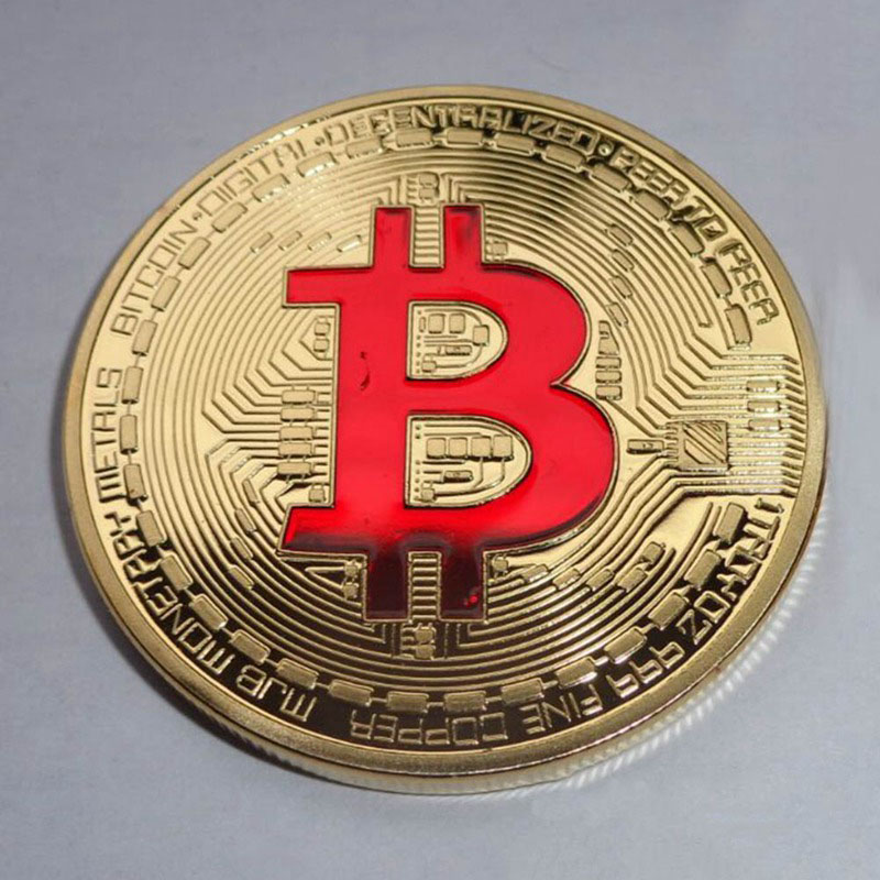 Silver Color Bitcoin Challenge Coin Commemorative Metal Bitcoin Gold Color Coin for Collective Birthday Gifts
