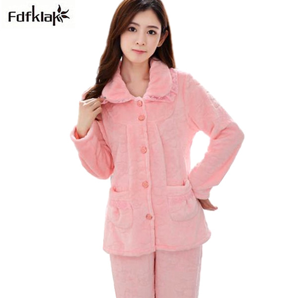 save off adfae 36a94 US $25.4 49% OFF|Fdfklak Heißer Hause Kleidung Für Frauen Flanell Warmen  frauen Winter Schlafanzug Langarm Damen Winter pyjamas pijama mujer in ...