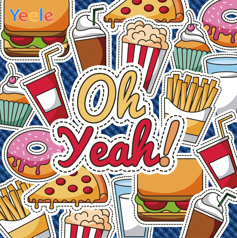 Yeele Junk Food Pizza Hamburger French Fries Patterns Photography Backgrounds Customized Photographic Backdrops for Photo Studio