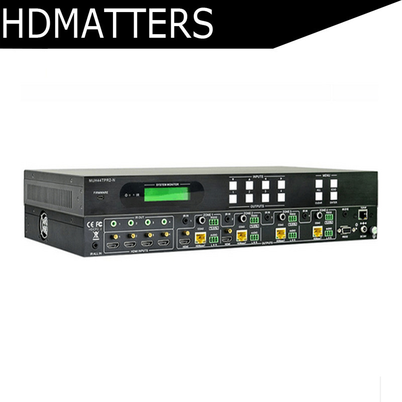 Professional 4K HDMI 4X4 HDBaseT Matrix Switcher 4 x HDMI Input and 4 x HDBaseT, 2 x HDMI Out+de-embedded audio IR RS232 hdmi allocator 1 input 2 output one minute two frequency switcher audio and video synchronization 4k hd 2 version