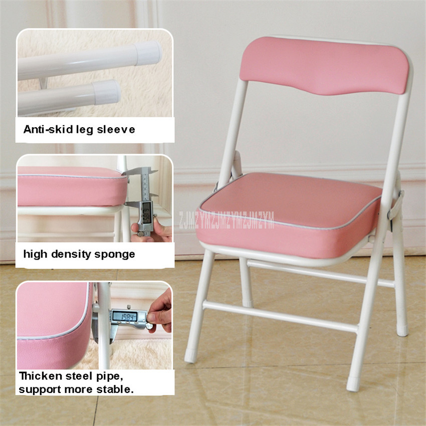 Foldable Children Chair Metal Steel Frame Sponge Filler Baby Kids Learning Writing Study Mini Low Chair For Doll House Furniture