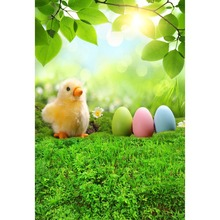 Easter backdrop Vinyl Photography Background Easter Eggs Chicken Green Grass Children Backdrops for Photo Studio GE-021 стоимость