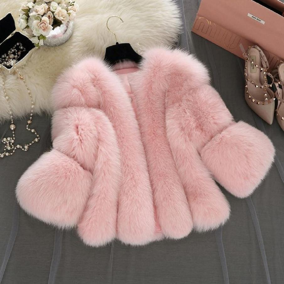 S-4XL plus size Winter New fashion brand Fake fox fur jacket women's warm jacket stitching thicker Faux fur coat w1768