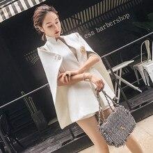 2018 Spring Autumn Women Elegant Cape Colak Woolen Blazer OL Style Slim  Jackets Female Korean Stand Collar Suit Coats W1291 68ea08505de9