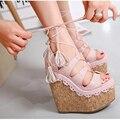 Sandálias das mulheres 2017 Nova Moda Verão Lace High Heel Bombas Plataforma Cunhas Mulher Sapatos de Cabeça de Peixe Sandálias das Mulheres
