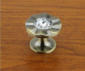33mm glass crystal drawer knobs pulls bronze kitchen cabinet handles knob antique brass diamond dresser door knobs vintage style