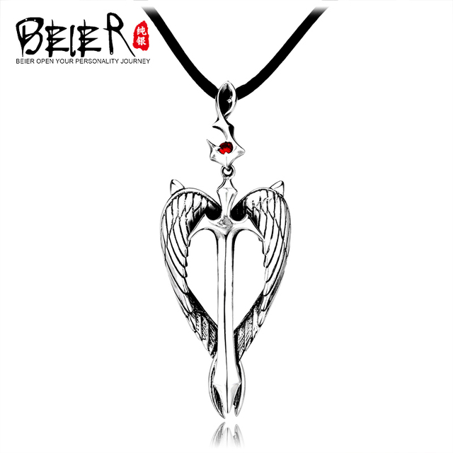 BEIER 925 sterling silver pendant angel wings feather cross fashion men personalized pendant jewelry influx of people A2162