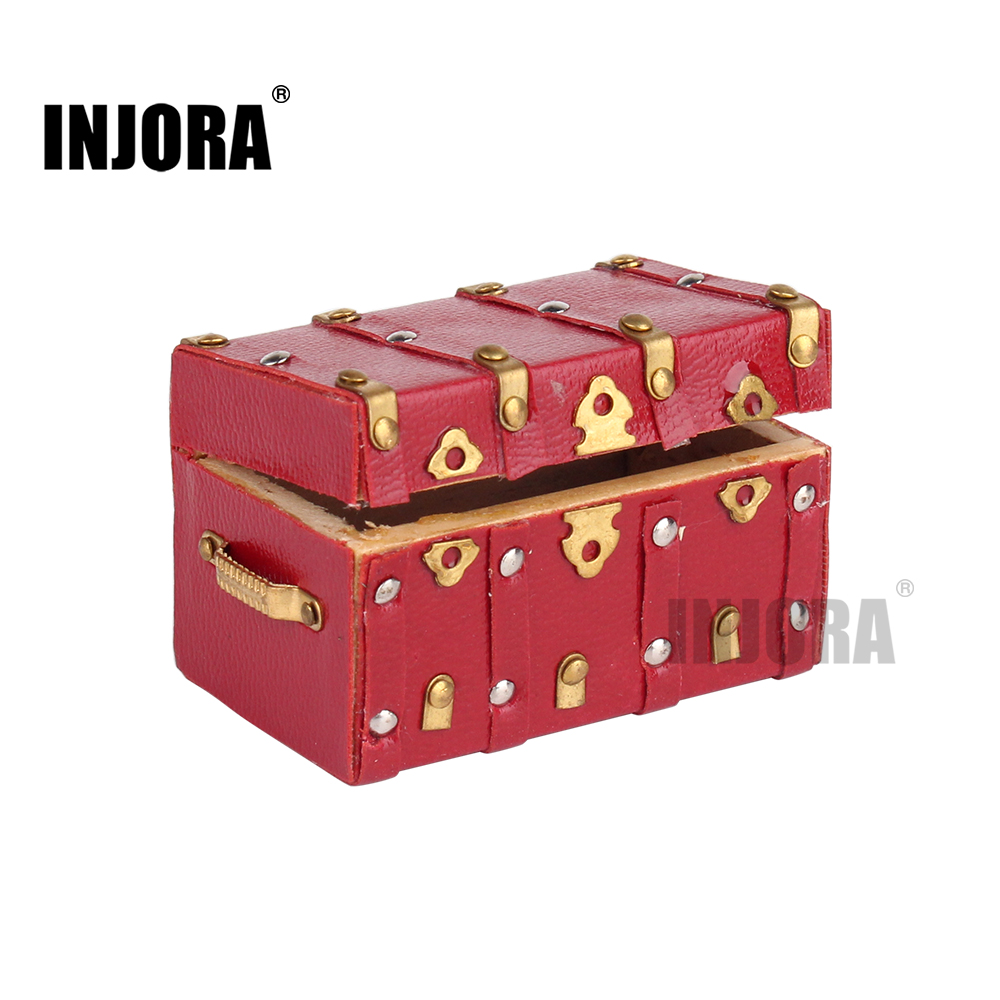 Miniature Wooden Red Luggage Suitcase for 1:10 RC Rock Crawler Axial SCX10 90046 TAMIYA CC01 RC4WD D90 D110 Traxxas TRX-4