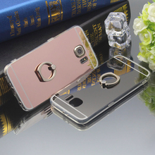 Ringcall Luxury Mirror Case Soft TPU Back Cover for Samsung Galaxy S3 S4 S5 S6 S7 S8 Edge Plus Note 3 4 5 Ring Stand Phone Case