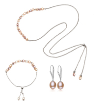 Fashion Real Pearl Jewelry Sets for Women,White Natural long Chain Necklace earrings  jewelry sets girl christmas gift