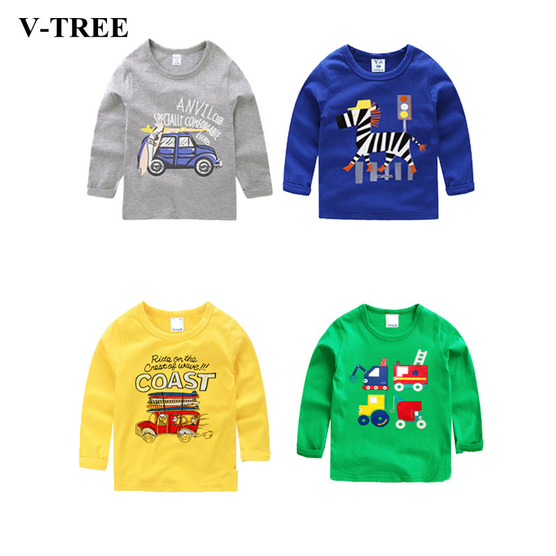 V-TREE New fashion 2018 spring baby girl shirts cartoon boys girls t-shirt long sleeve children t shirts kids shirt girls tops twist open v back t shirt