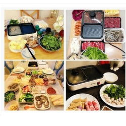 220V Multifunctional Electric Hot Pot Barbecue Grill Plate Non-stick Household 2 In 1 BBQ And Hot Pot Machine EU/AU/UK