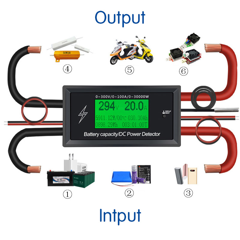 Car Battery Testers digital DC voltmeter ammeter voltage meter capacity volt current wattmeter detector power supply tester