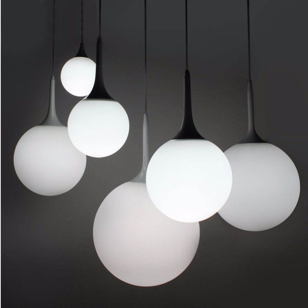Floureon Suspension Pendant LightSpherical Lamp Milky Glass Shade Decorative Light For Dining RoomLiving Room In Lights From