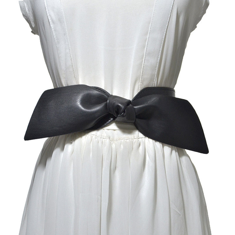 Women Bowknot Decoration Elastic Girdle Belt Wild Wide Imitation Leather Waist Belts JL