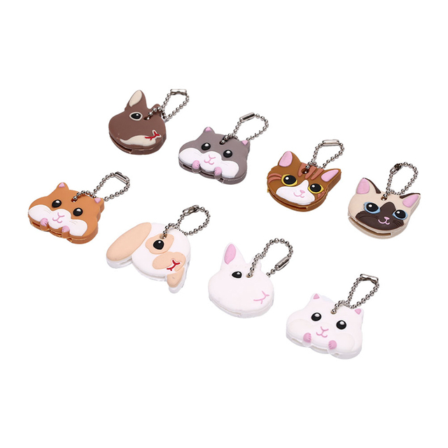 Lovely Animals Shape Key Ring Silicone Cap Head Cover Key Case Shell Keychain Jewelry Gift 1
