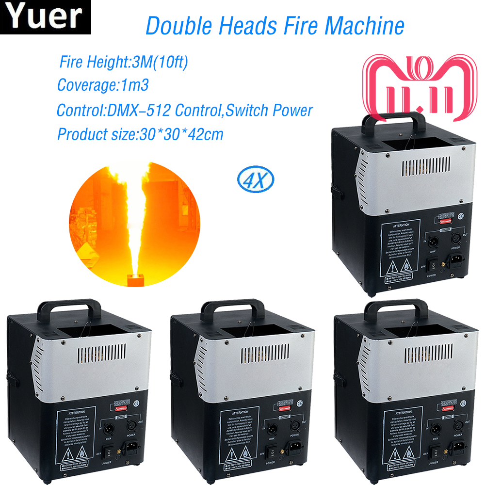 4pcs/lot 200W Double Heads fire Machine DMX Stage Fire Machine Flame Thrower For Party KTV Stage Performance Special Effects dmx lpg fire machines controller for flame machine dmx outdoor events for party ktv stage performance special effects